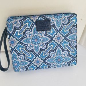 Liberty of London clutch blue paisley design bag